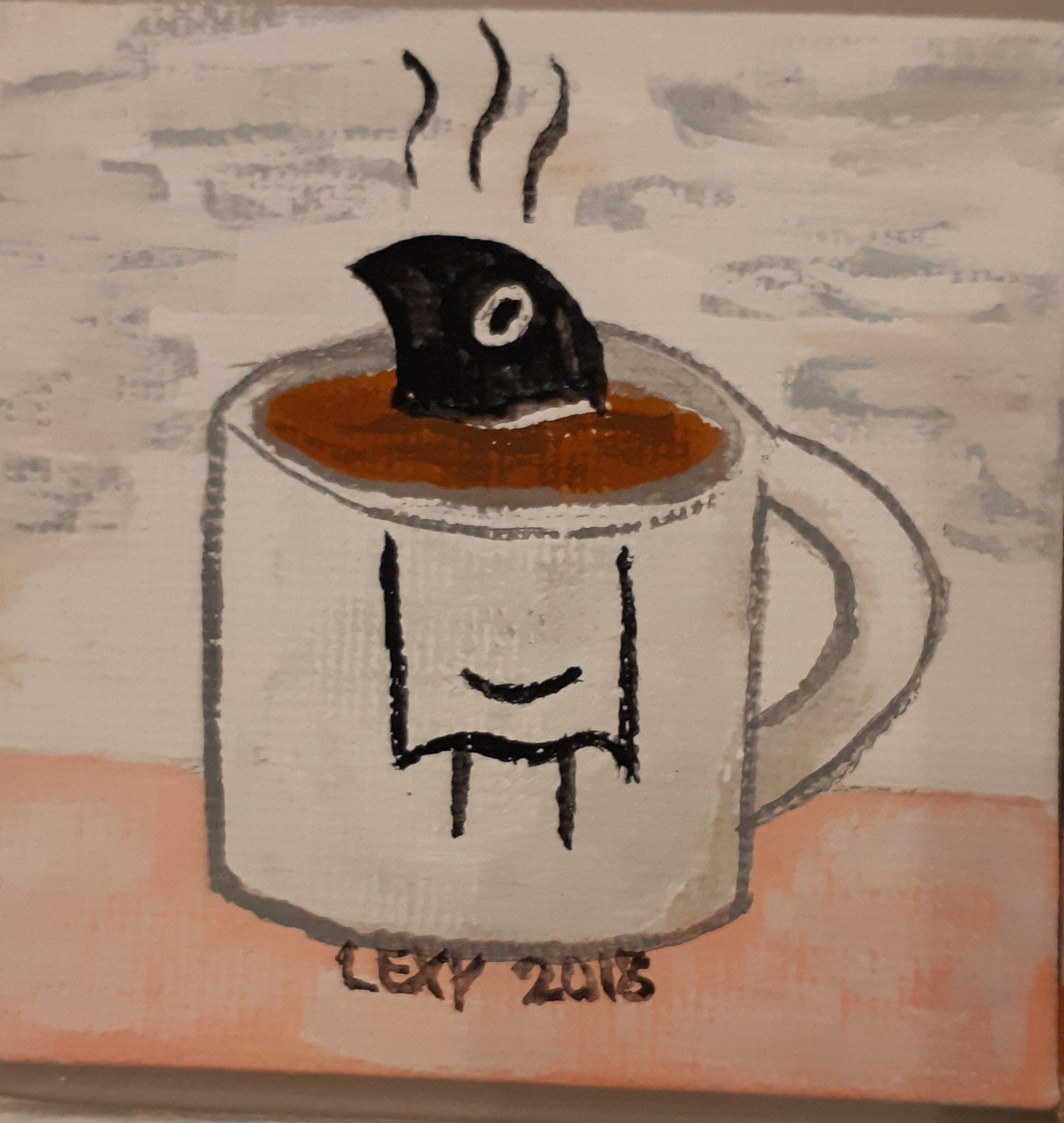 A gouache-acryl painting depicting a burnt bird in a mug of hot chocolate.