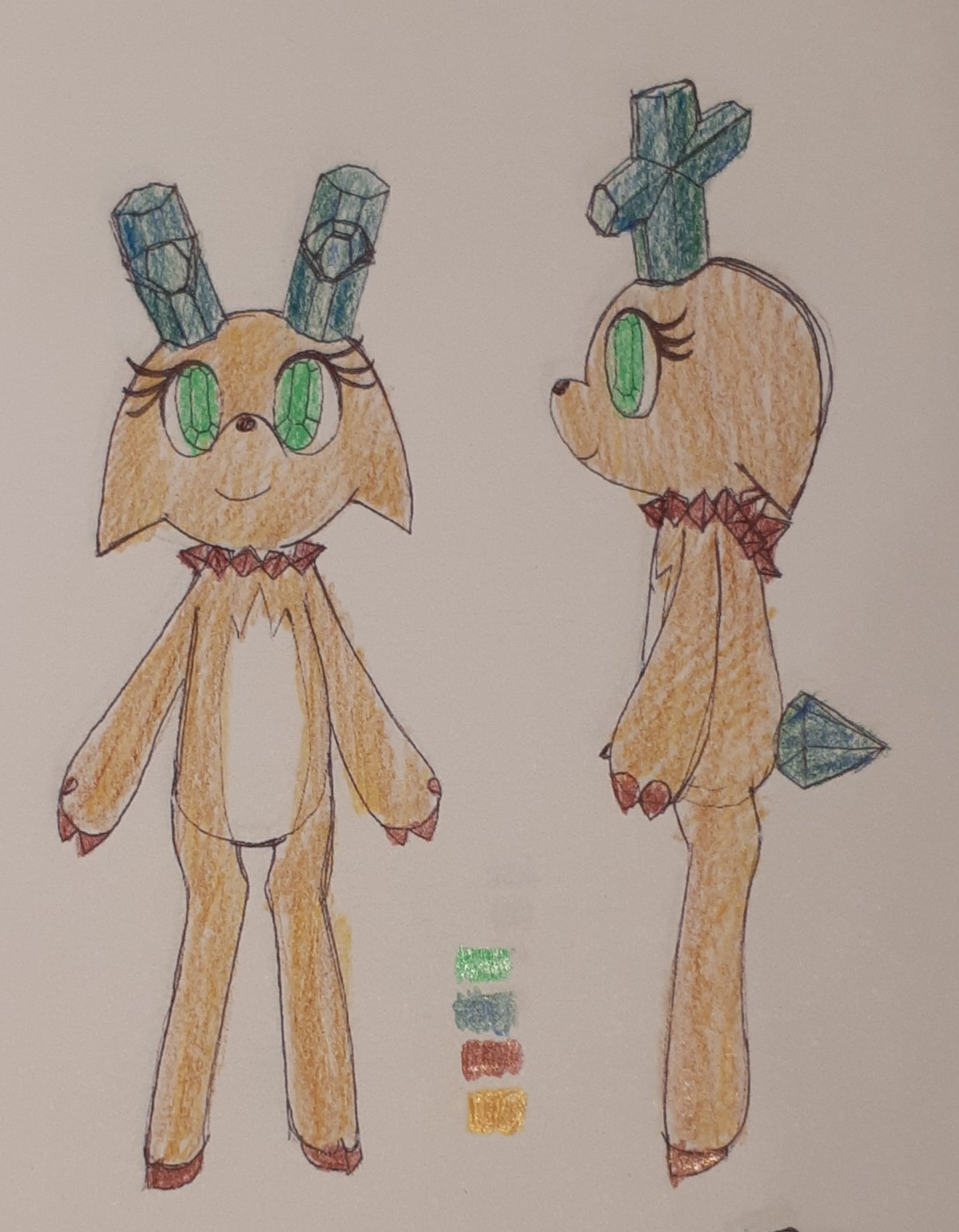 Concept sketches of a gem-themed deer character. The antlers are staurolites, the neck has some crystals, and the tail is a cut gem. The eyes also have gem irises.