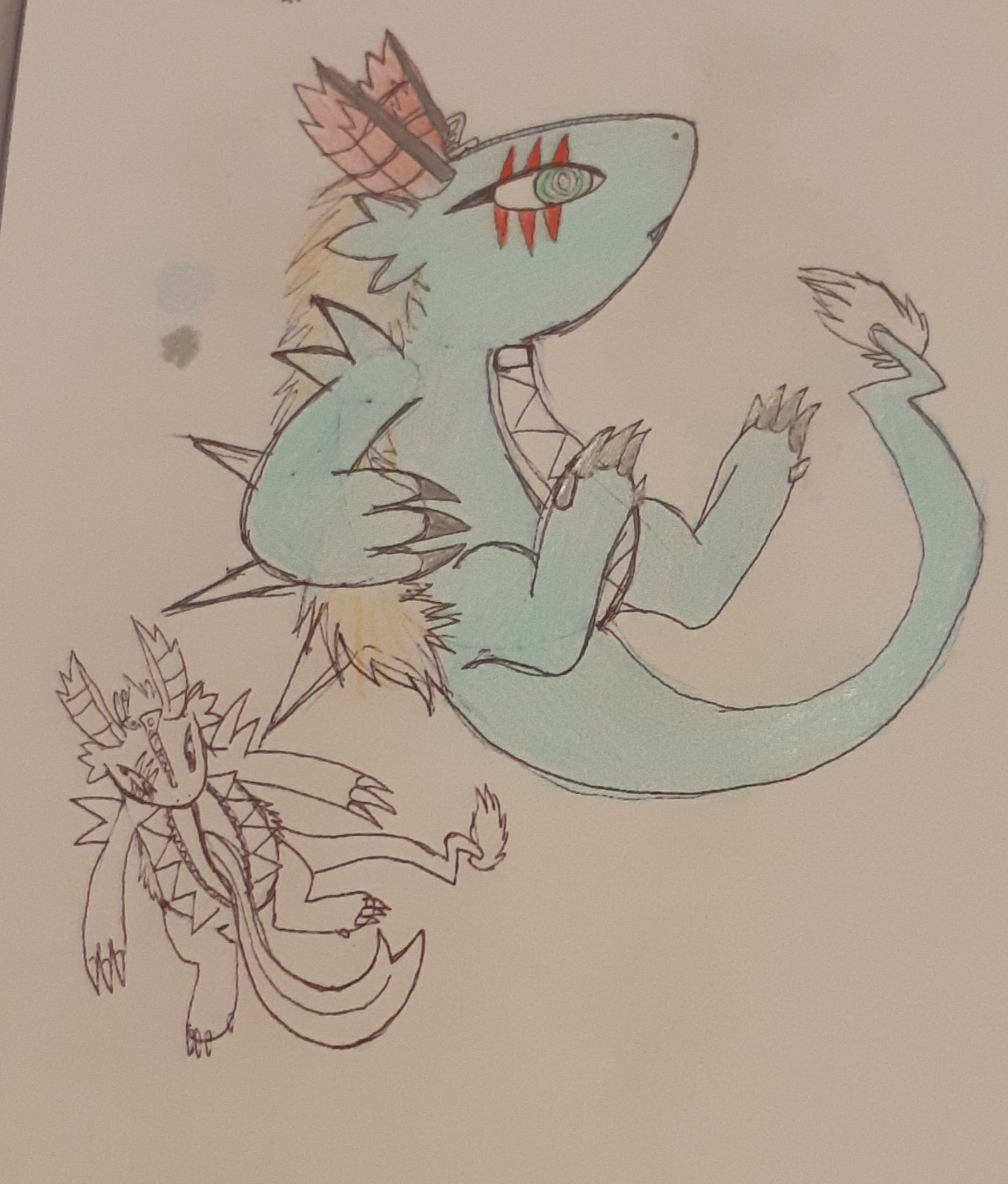 A concept sketch of a zipper-themed dragon. The stomach has a giant zipper and the forehead has a zipper.