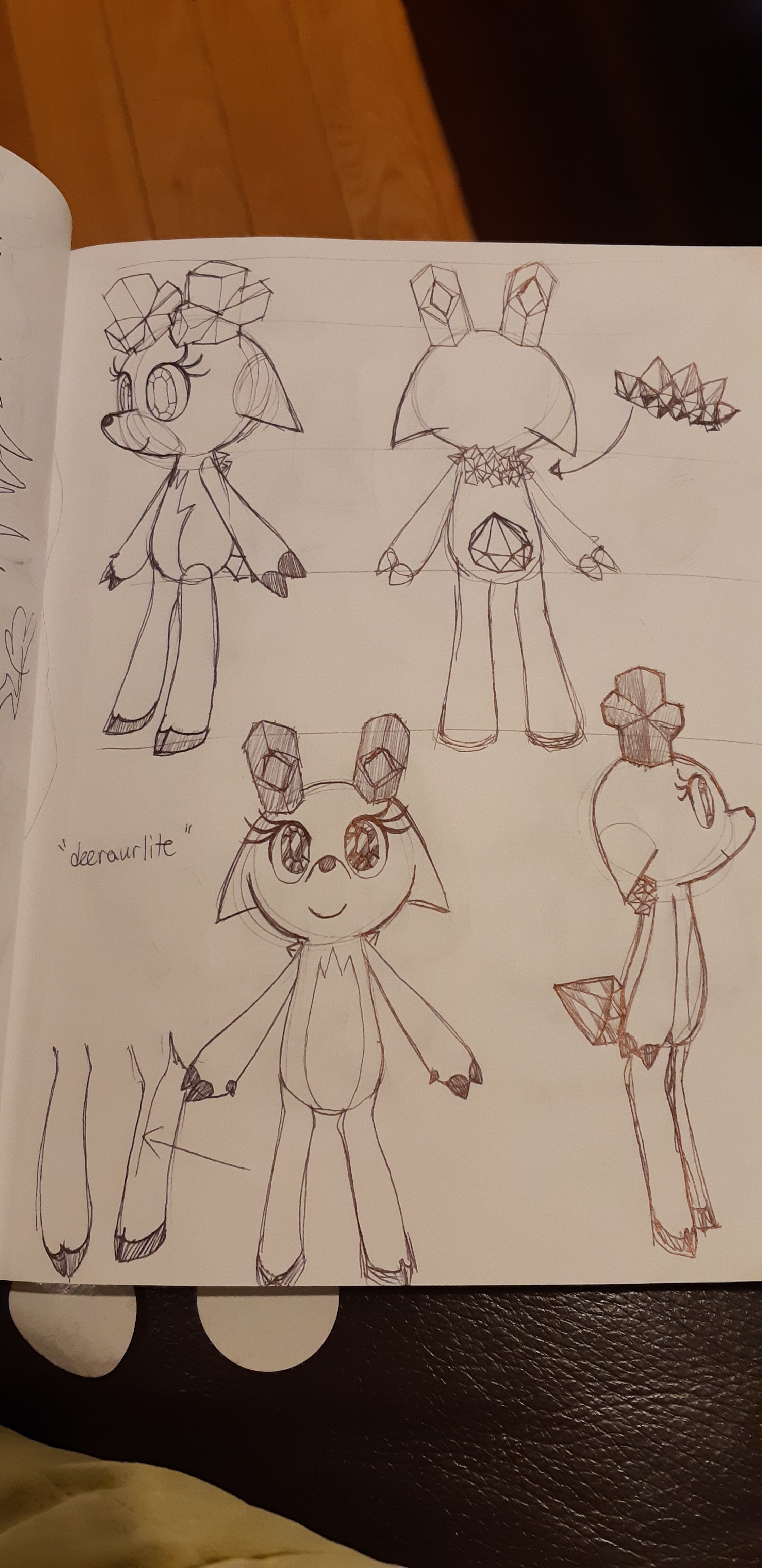 Concept sketches, depicting rotated angles of the Gem deer.