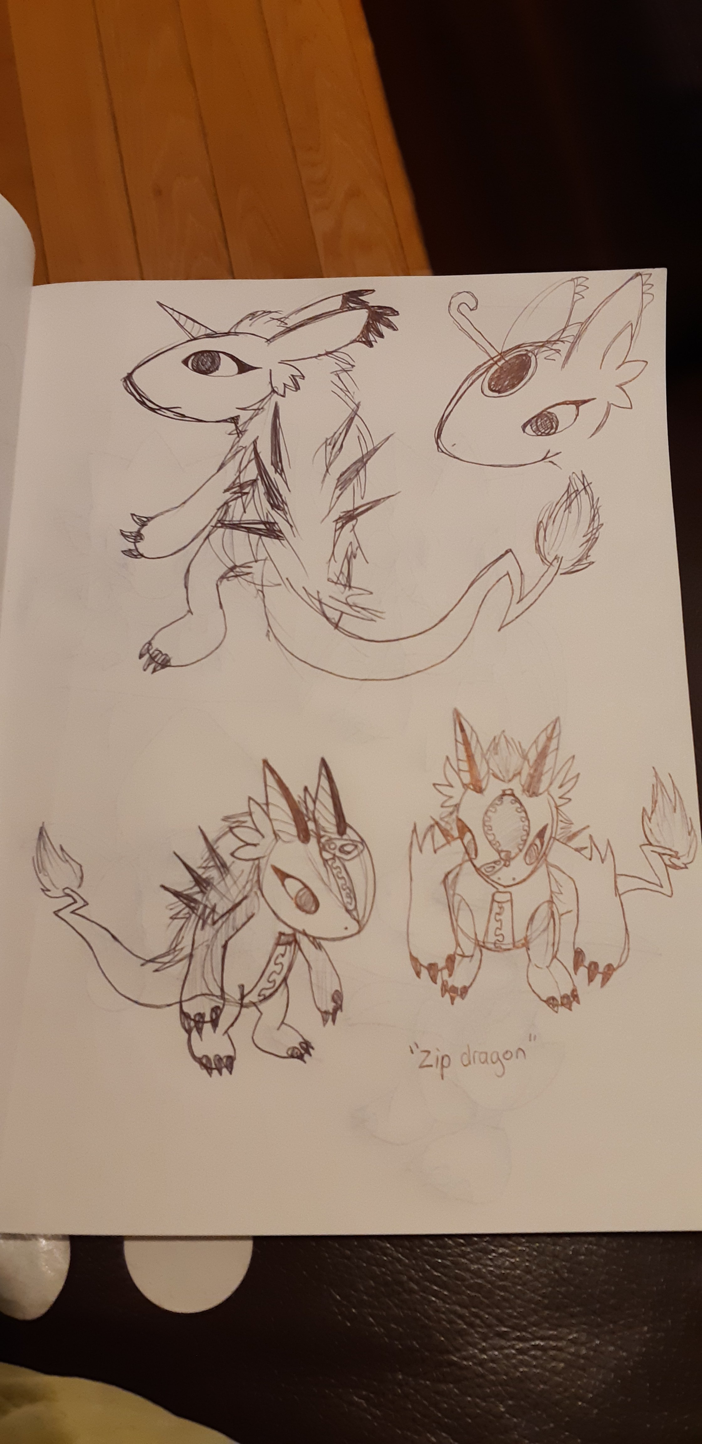 Concept sketches, depicting earlier versions of the zipper dragon. These sketches resemble the final version.
