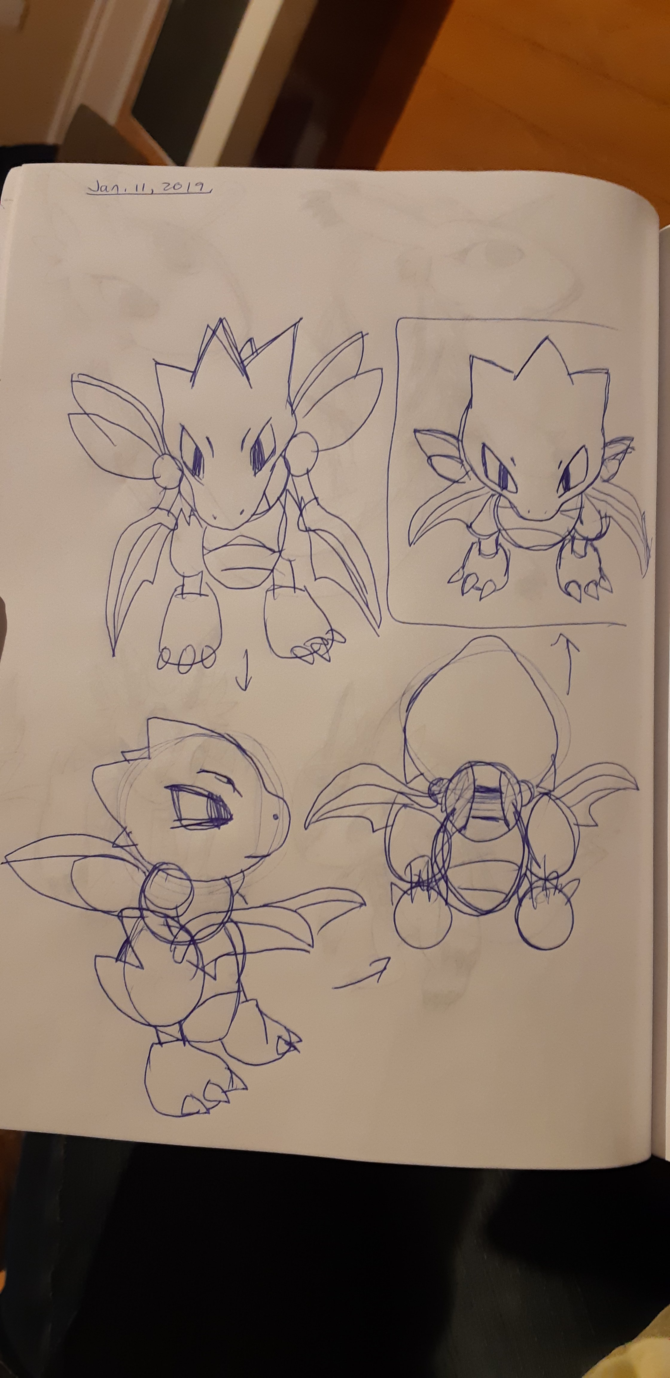 Concept sketches of a scyther; the design has been squished to create an SD version.