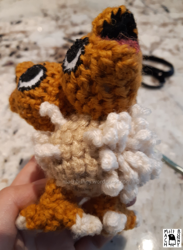Chiks the Beta Pokemon amigurumi, W.I.P. view of the body with some fluff.