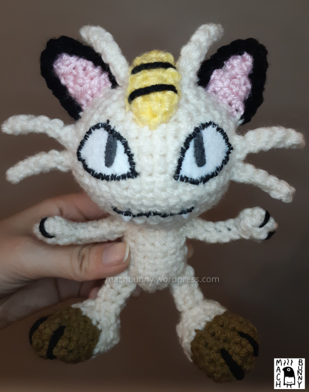 Amigurumi Meowth, alternate front view