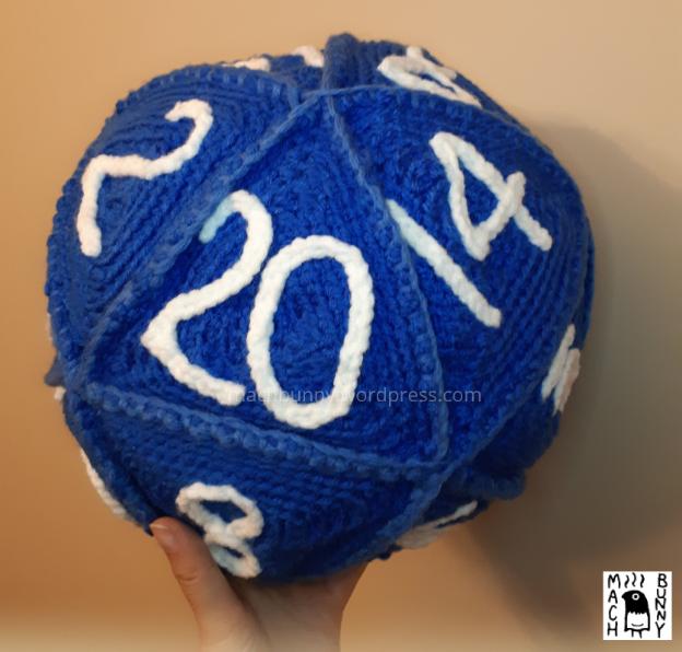 Amigurumi D20, a crocheted 20-sided die