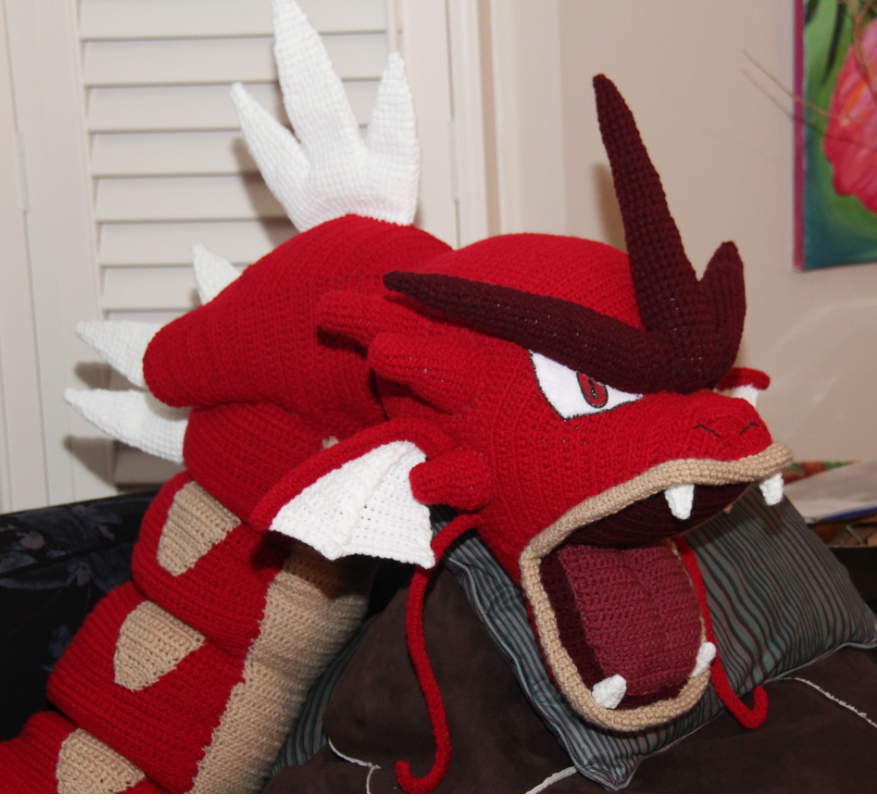 Giant shiny amigurumi Gyarados, face front view
