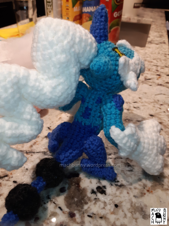 Amigurumi Thundurus Therian Forme, back view