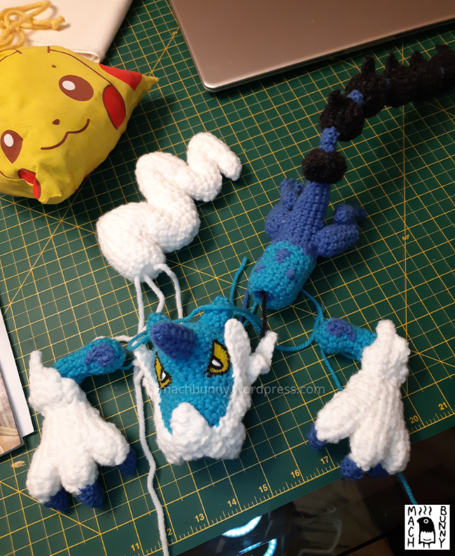 Amigurumi Thundurus Therian Forme, pieces made in the evening