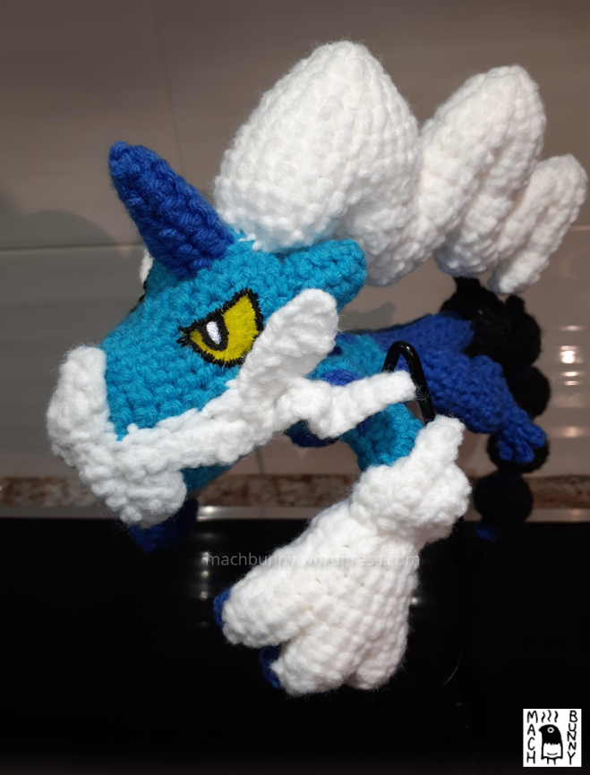 Amigurumi Thundurus Therian Forme, front view from other side