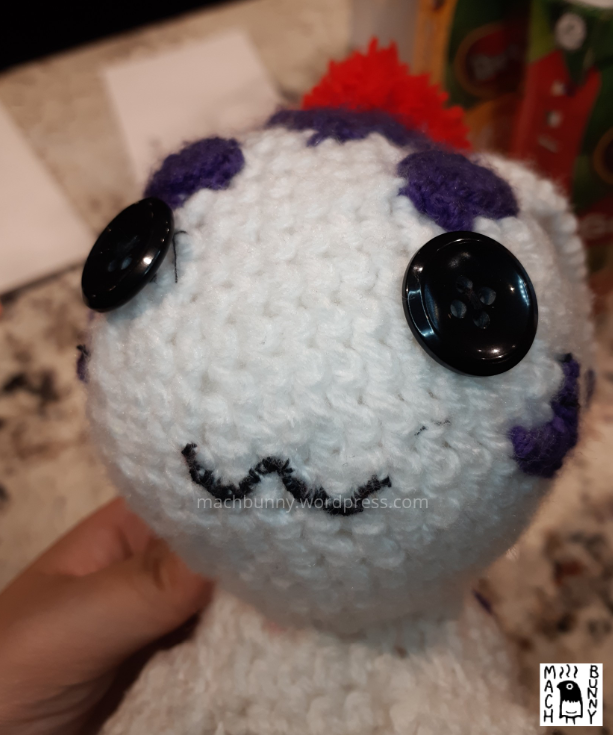 Amigurumi Gomamon, showing the front view of the face