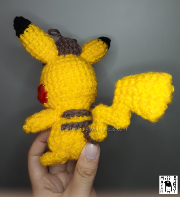 Amigurumi Detective Pikachu, back view