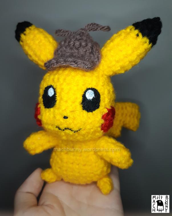 Amigurumi Detective Pikachu, front view
