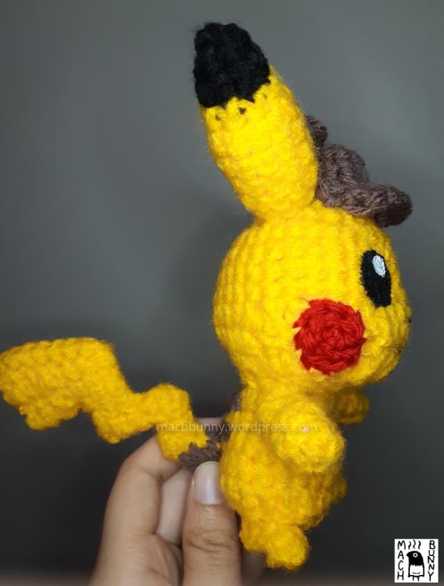 Amigurumi Detective Pikachu, side view