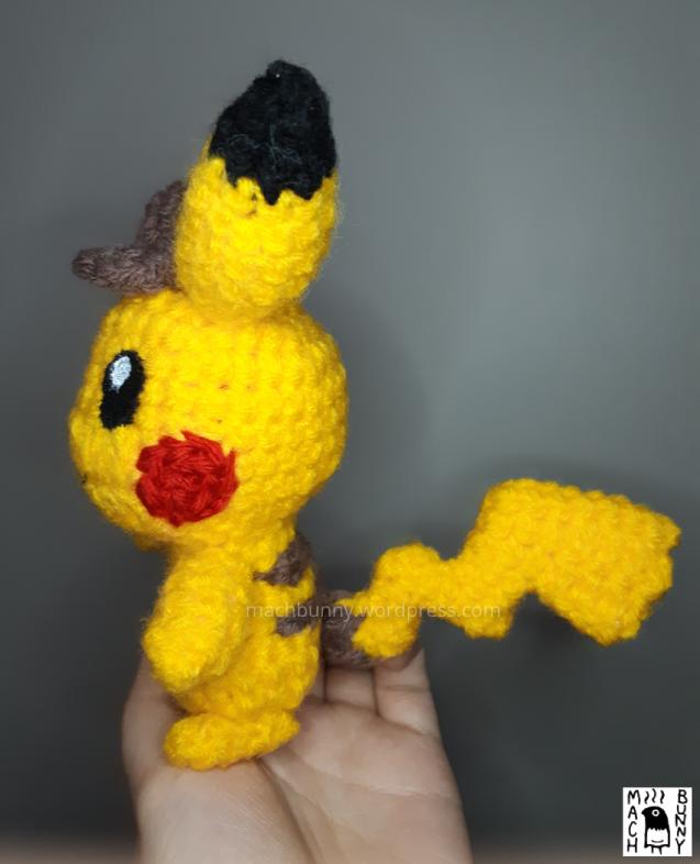 Amigurumi Detective Pikachu, alternate side view