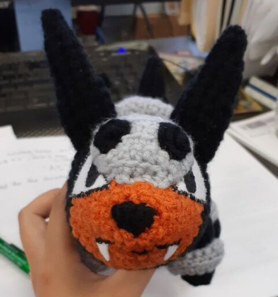 Houndour amigurumi, front view of face