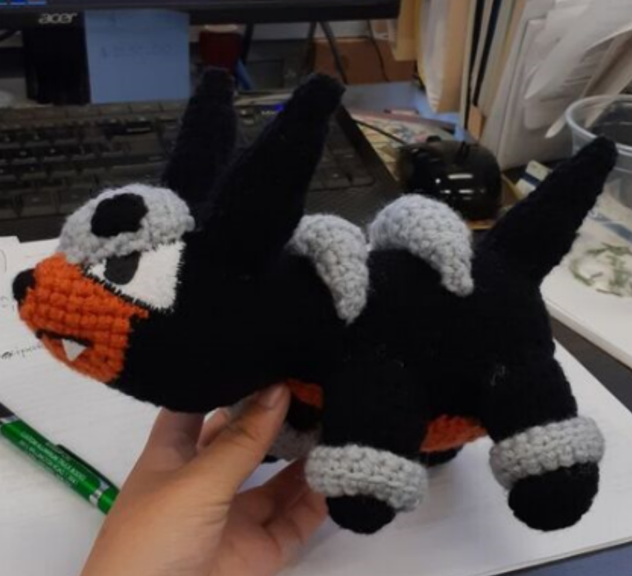Houndour amigurumi, side view