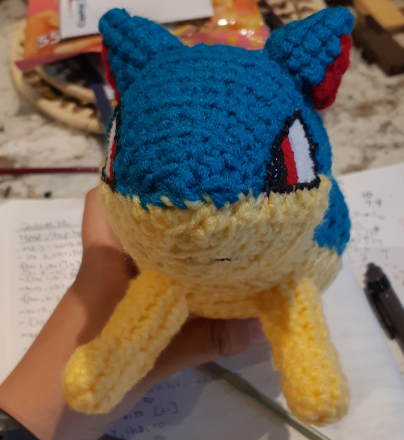 Quilava Amigurumi, front view without flames
