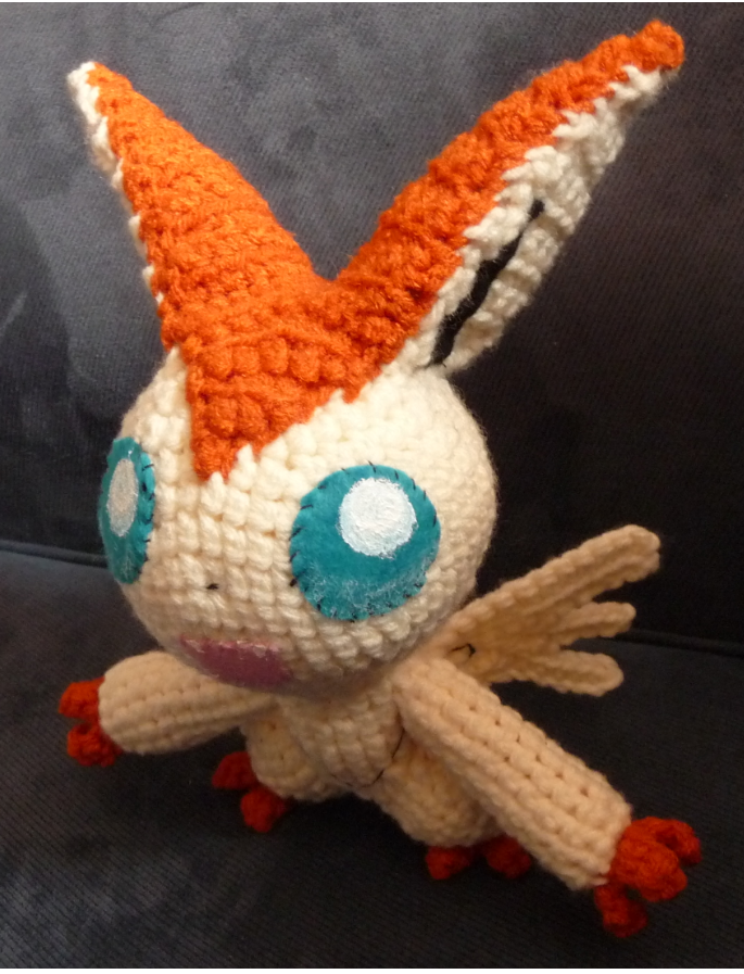 Old Amigurumi Victini, front view