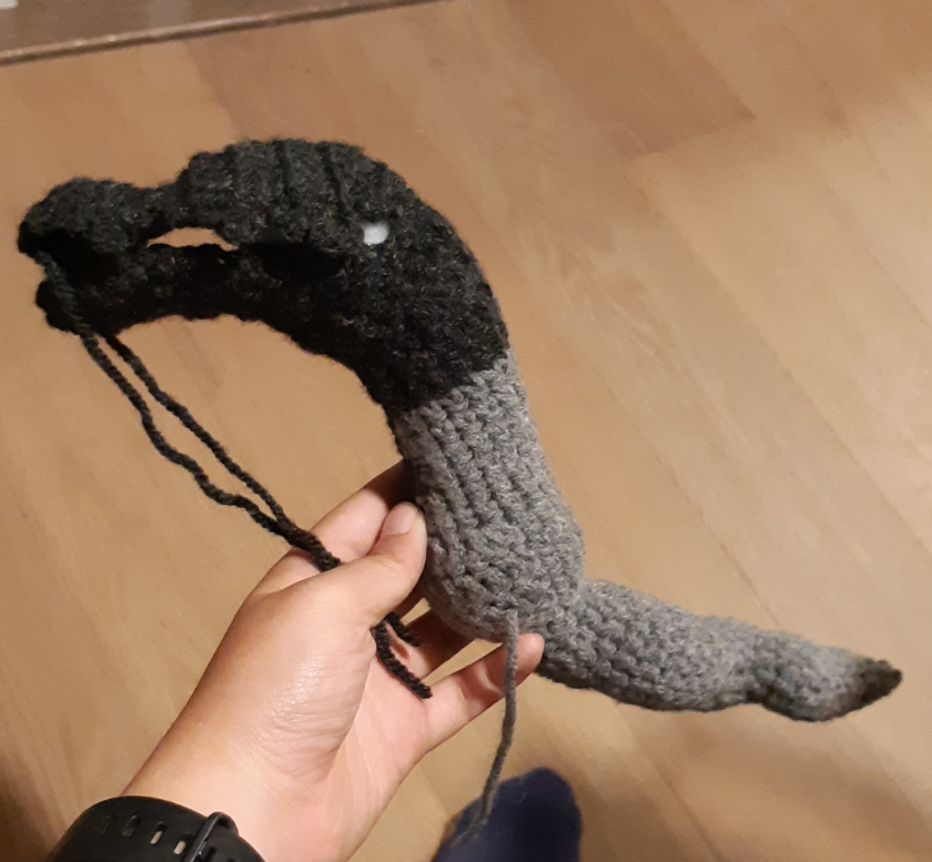 Amigurumi Salandit, side view of the body piece