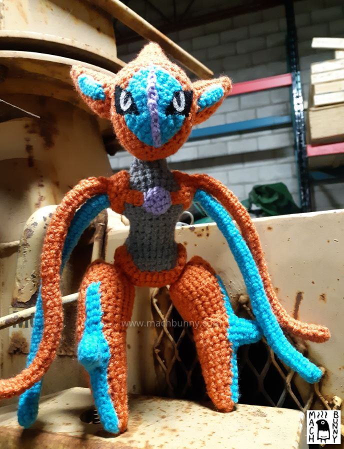 Amigurumi Deoxys, front view from below
