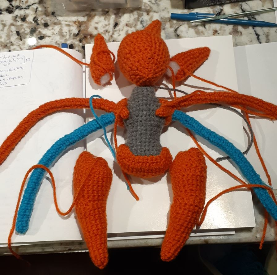 Amigurumi Deoxys, front view of all base body parts