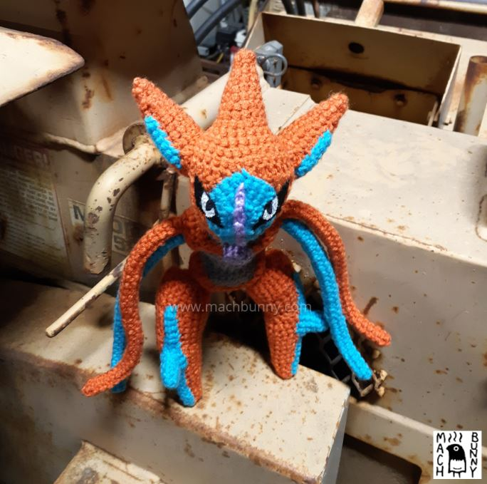 Amigurumi Deoxys, front view from top