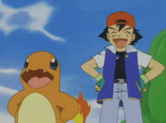 Screenshot of charmander and Ash from the anime.