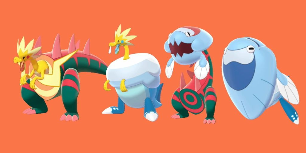 Official Galaar fossil pokemon: (left to right) Dracozolt, Arctozolt, Dracovish, and Arctovish.