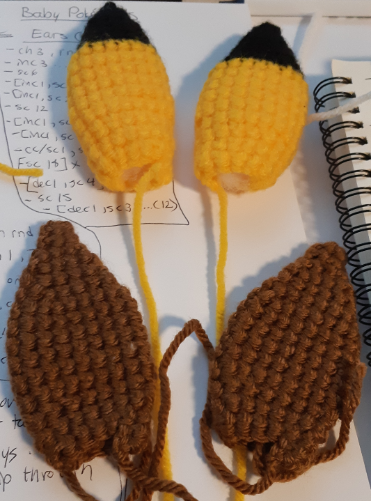 Base components of the ears, for the eevee and pikachu hats.