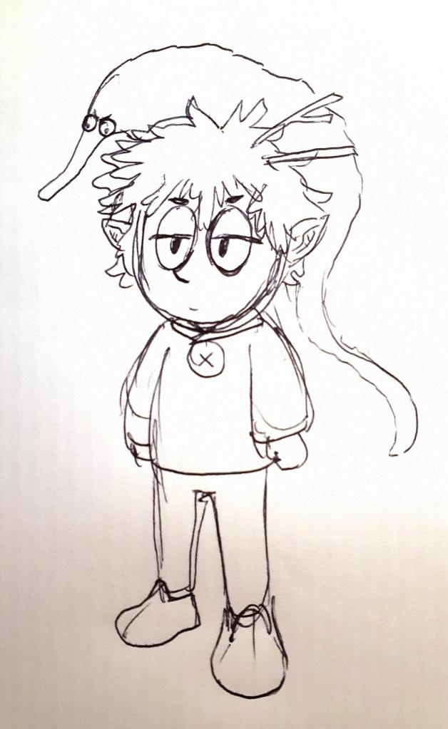 Doodle of a Dungeons and Dragons character, named Borgo. The doodle depicts a small human-shaped gnome, with pointed ears and messy hair. The character wears a sweater with a collar fastened with a single button, pants, and clog-like suede shoes. On his head is a large worm-on-a-string, and two twigs sticking out from the hair.