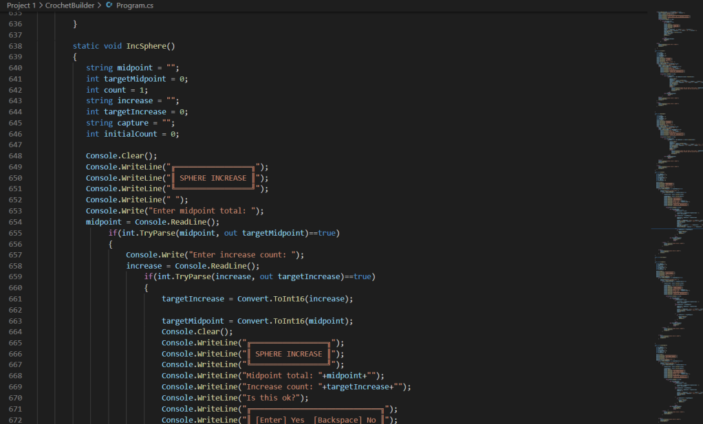 A screenshot of the VS code program, showing various coloured text lines in a new program, against the black background. The coloumn on the left indicates the number of rows in the program, and the column on the right shows the overall structure of the program.